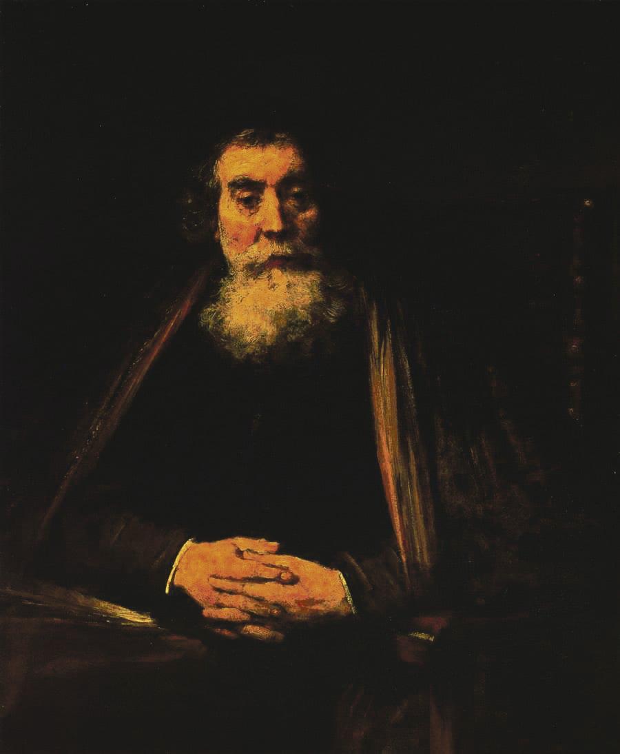 """Rembrandtin maalaus """"Vanhan  miehen muotokuva"""" esittää  mahdollisesti Comeniusta.  Kuva: Wikimedia Commons"""