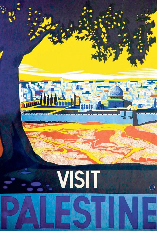 """Vielä vuonna 1936 nimi """"Palestiina"""" oli näkyvästi esillä uskonnollisesta taustasta riippumatta. Tel Aviviin Saksan juutalaisvainoja paenneen graafiikon Franz Krausin matkailumainos."""